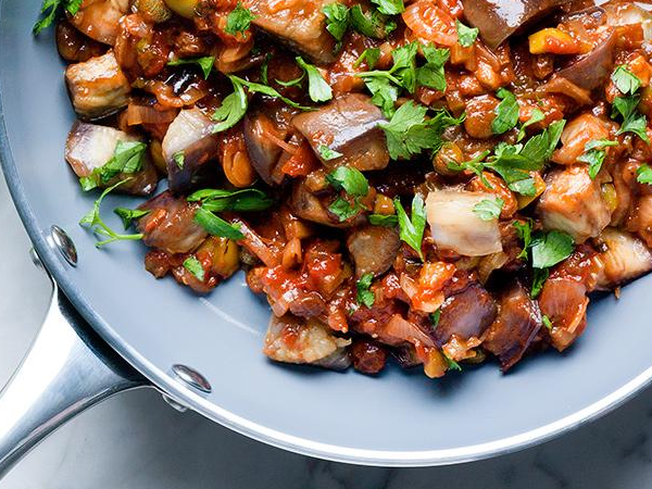 Caponata with mint and parsley