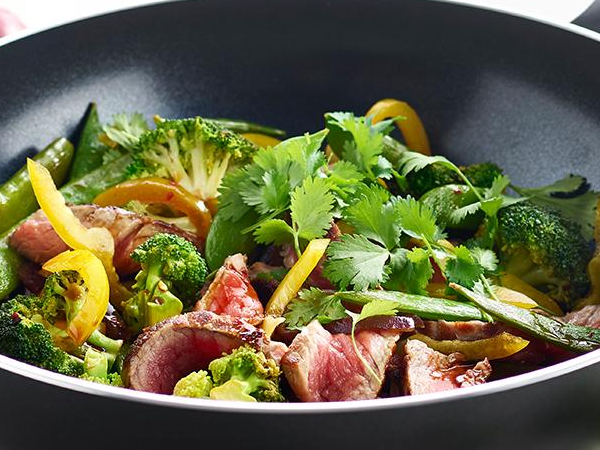 Beef steak with stir-fried vegetables