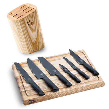 Chop & Grill Knife block with knives + Chopping board